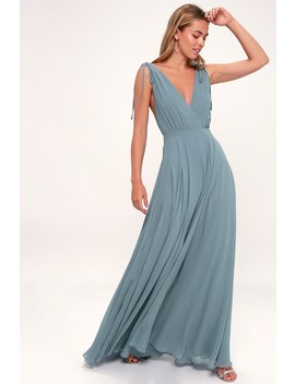Dance The Night Away Slate Blue Backless Maxi Dress by Lulus