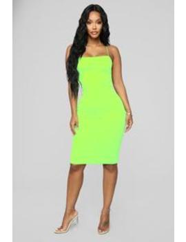 Lil Yazzy Midi Dress   Neon Green by Fashion Nova