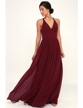 Love Spell Burgundy Lace Back Maxi Dress by Lulus