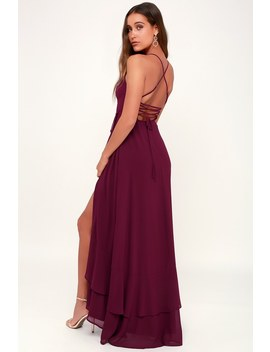 In Love Forever Burgundy Lace Up High Low Maxi Dress by Lulus