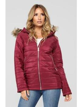 Time For An Adventure Puffer Jacket   Burgundy by Fashion Nova