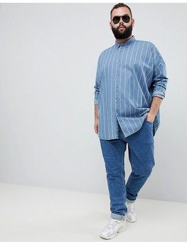 Asos Design Plus Oversized Denim Stripe Shirt With Drop Shoulder by Asos Design