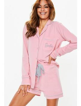 Barbie X Missguided Pink Jersey Long Sleeve Pajamas Set by Missguided