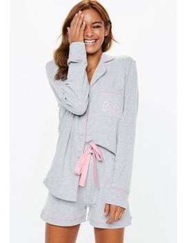 Barbie X Missguided Gray Jersey Long Sleeve Pajamas Set by Missguided
