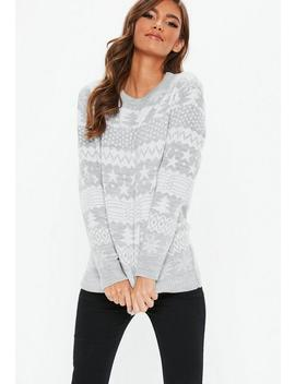 Gray Knitted Printed Christmas Jumper by Missguided