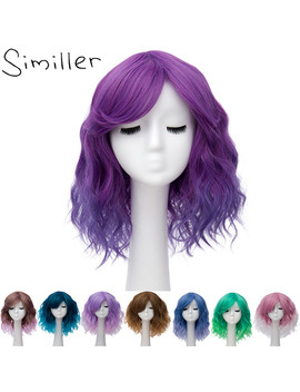 Similler Pixie Cut Synthetic Wigs With Bangs For Women Wig Short Water Wavy Hair Heat Resistant Pink Purple Ombre Two Tones by Similler