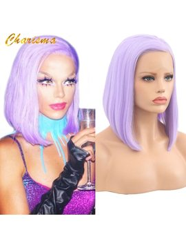 Charisma 10 Inch Bob Purple Synthetic Short Hair Lace Front Wigs Glueless For Women Natural Hairline 150 Percents Density by Charisma