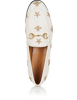 Embroidered Leather Loafers by Gucci