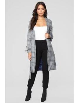 I'm The Boss Plaid Jacket   Black by Fashion Nova