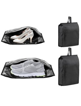 Ipow Nylon Shoe Bag Set Of 4 Travel Waterproof Nylon Zipper Transparent Window Personalized Shoes Organizer Holder For Men & Women Gym Luggage Dustproof & Waterproof, Black by Ipow