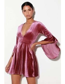 Wrapped In Luxe Mauve Velvet Bell Sleeve Skater Dress by Lulus