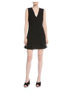 V Neck Sleeveless A Line Mini Dress W/ Ruffled Trim by See By Chloe