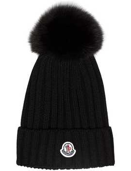 Black Wool Beanie Hat With Pom Pom by Moncler