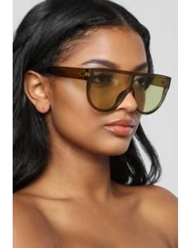 Ready For The Show Sunglasses   Olive by Fashion Nova