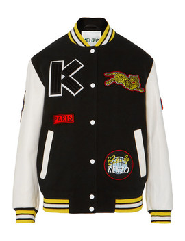 Embroidered Wool Blend And Leather Bomber Jacket by Kenzo