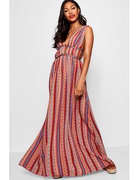 Justine Plunge Ribbon Trim Maxi Dress by Boohoo
