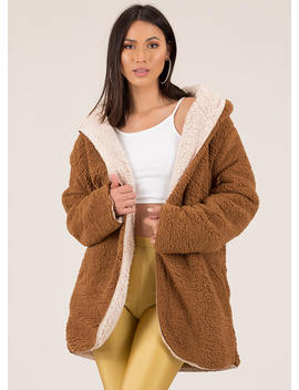 Out Side Reversible Faux Shearling Coat by Go Jane