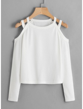 Cold Shoulder Ribbed Tee by Romwe