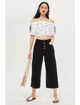 Black Button Cropped Wide Leg Jeans by Topshop