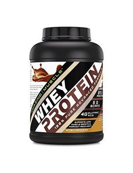 Amazing Muscle 100 Percents Whey Protein Powder *Advanced Formula With Whey Protein Isolate As A Primary Ingredient Along With Ultra Filtered Whey Protein Concentrate (Chocolate, 5 Lb) by Amazing Nutrition