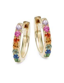 14 K Gold Mult Color Sapphire Hoop Earrings by Effy