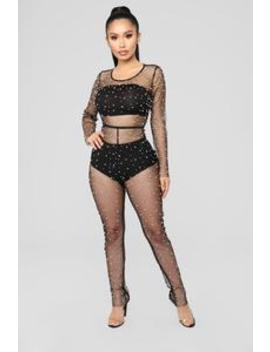 Dreaming Of Pearls Jumpsuit   Black by Fashion Nova