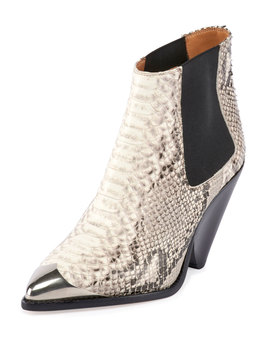 Lemsey Snake Print Leather Ankle Booties by Isabel Marant