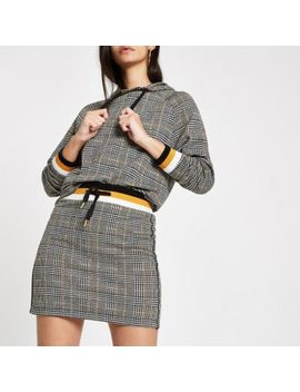 Brown Jersey Check Mini Skirt by River Island