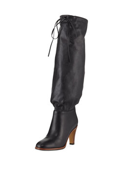 Leather Self Tie Knee Boots by Gucci