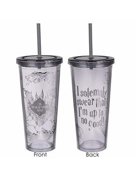 Harry Potter Marauder's Map Travel Cup With Straw   I Solemnly Swear That I Am Up To No Good   Acrylic Tumbler With Silver Design   22 Oz by Seven20