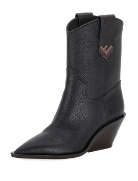 Leather Western 60mm Booties by Fendi