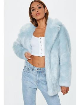 Blue Faux Fur Coat With Collar by Missguided