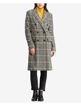 Petite Double Breasted Plaid Trench Coat by Ralph Lauren
