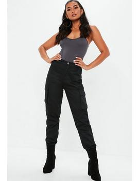 Petite Black Plain Cargo Pants by Missguided