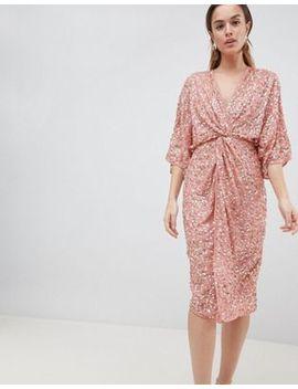Платье кимоно миди с пайетками Asos Design by Asos
