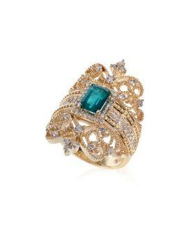 Brasilica Emerald & Diamond 14 K Gold Ring by Effy