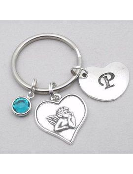 Cherub Angel Heart Initial Keyring | Cherub Keychain | Personalised Cherub Keyring | Angel Gift | Cherub Gift | Letter | Birthstone by Etsy