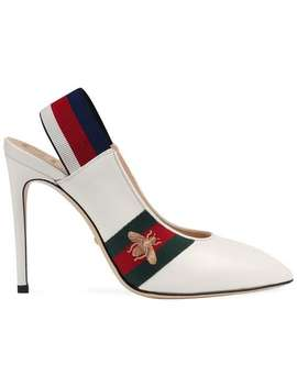 Leather Web Slingback Pump by Gucci