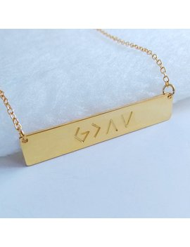 God Is Greater Than The Highs And Lows Necklace,Gold Christian Bar Necklace,Faith Necklace,Personalized Jesus Necklace,God Is Greater Gift by Etsy