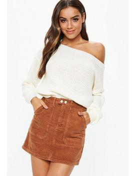 White Off Shoulder Knitted Sweater by Missguided