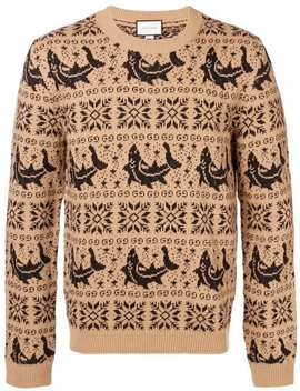 Embroidered Long Sleeve Sweater by Gucci