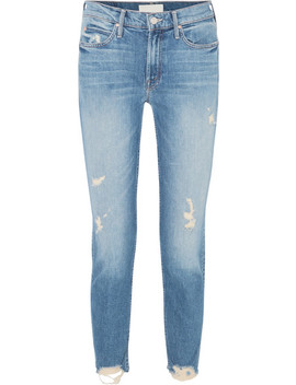 Flirt Fray Distressed Mid Rise Straight Leg Jeans by Mother
