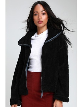 Dazed Black High Neck Fuzzy Jacket by Free People Movement