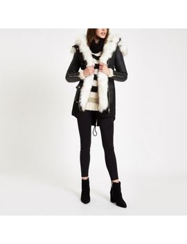 Black Faux Fur Trim Parka Coat by River Island