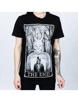 Mortus Viventi   The End Tarot Card Bunny Tee, Tarot Women's Shirt, Gothic Shirt, Occult Tee, Goth Tarot Women's T Shirt by Etsy