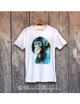 Chimp Chimpanzee T Shirt, Unisex T Shirt, Ring Spun Cotton 100 Percents, Watercolor Print T Shirt, T Shirt Art, T Shirt Animal,Xs, S, M, L, Xl, Xxl by Etsy