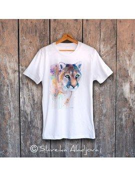 Puma T Shirt, Unisex T Shirt, Ring Spun Cotton 100 Percents, Watercolor T Shirt, T Shirt Art, T Shirt Animal, Xs, S, M, L, Xl, Xxl by Etsy