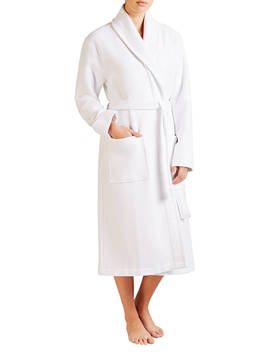 John Lewis & Partners Spa Waffle Robe, White by John Lewis & Partners