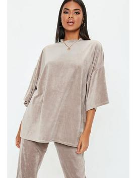 Grey Velour Oversized T Shirt by Missguided