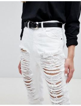 Dr Denim Nora Super High Rise Mom Jean With Rips by Dr Denim